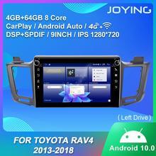 مشغل راديو للسيارة يعمل بنظام أندرويد 10.0 بذاكرة وصول عشوائي 4 جيجا بايت + ذاكرة داخلية 64 جيجا بايت شاشة 9 بوصة IPS يدعم 4G/SWC/BT/Carplay لسيارة تويوتا RAV4 2013 2018 (محرك أقراص يمين) RDS DSP