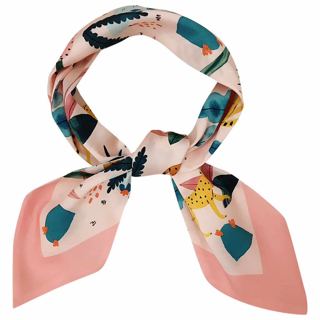 Cintas de impresión de dibujos animados pañuelo con lazo moda señoras bolso hecho a mano bufandas sombrero diadema atado mango pequeño envolturas manteau femme