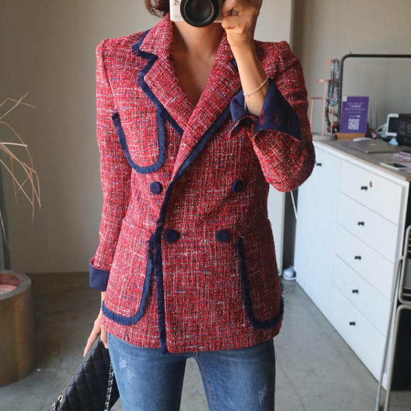 Korean Casual Ladies Blazer Loose Solid Red Stylish Suit Jacket Vintage  Blezer Feminino Women's Clothing Spring Autumn MM60NXZ