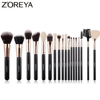 ZOREYA Soft Synthetic Hair Fibers Makeup Brush Tool Set Large Foundation Contour Blush Powder Eye Shadow Make Up Brushes Black