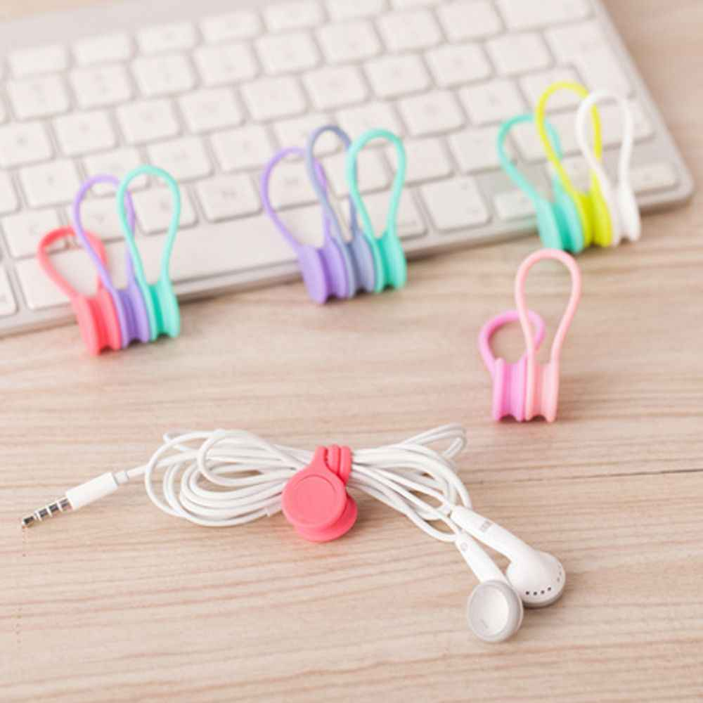 3pcs/pack Cute Magnet Earphone Cable Holder Clips Korean Kawaii Stationary Cord Winder Organizer Desk Accessory Desk Office Set