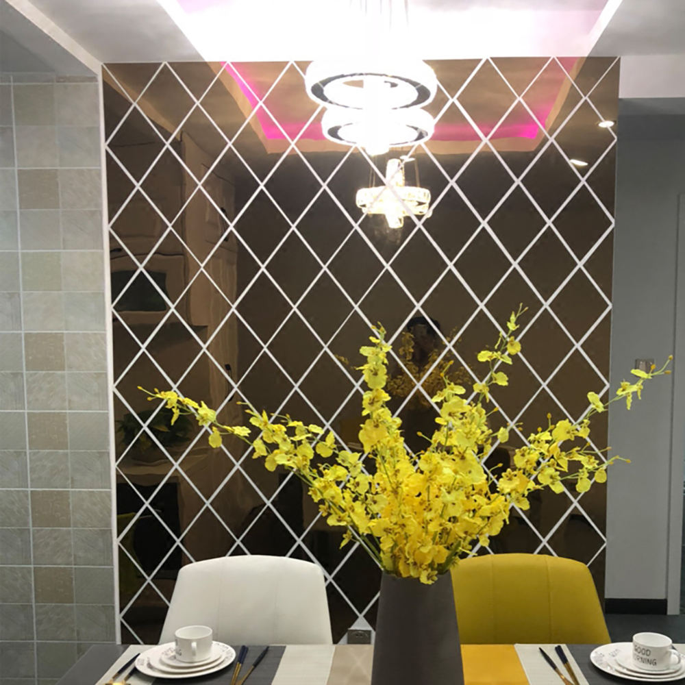 Мозаичные акриловые зеркальные наклейки на стену, эффект панели Diy, настенные художественные наклейки для гостиной, Современное украшение для дома, аксессуары|Наклейки на стену|   | АлиЭкспресс