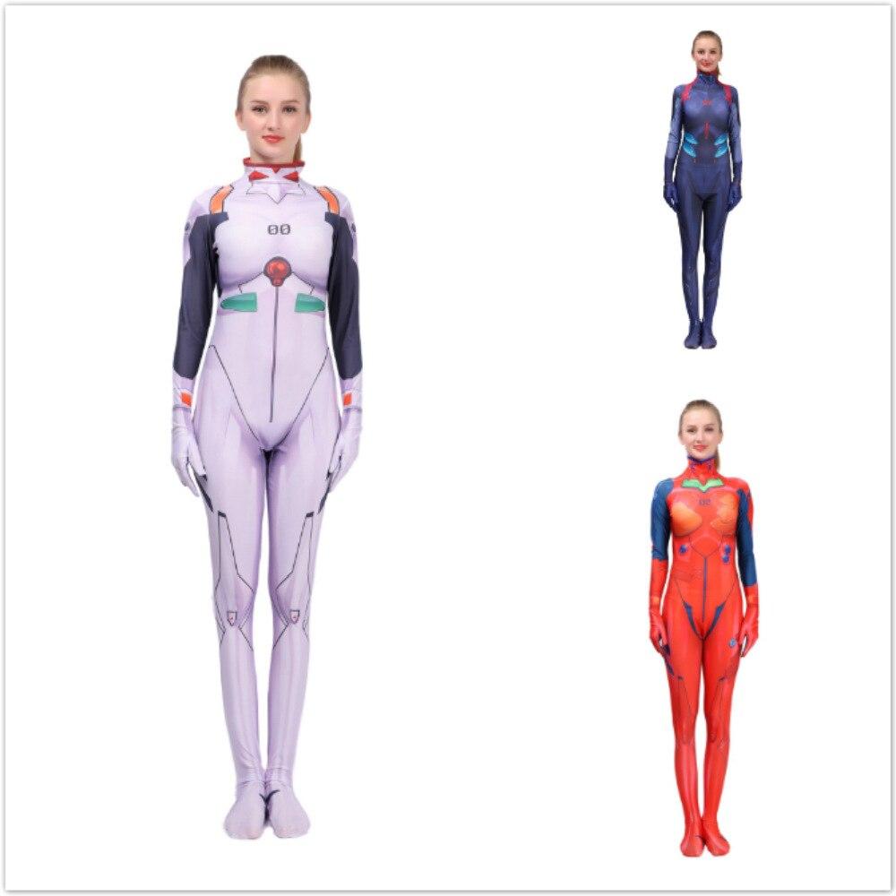 Neon Genesis Evangelion Ayanami Rei Akira EVA Cosplay Costume Halloween 3d Print Bodysuit Women Kids Jumpsuit HY-056