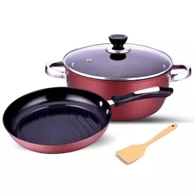 Casserole 2 pièces ustensiles de cuisine antiadhésifs combinaison poêle poele deux pièces poêle sans fumée poêle à oeufs poêle en fonte