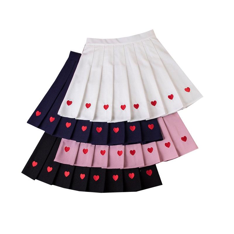 High Waist A-Line Women Pleated Skirt Sweet Cute Ladies Girls Dance Mini Skirts Sailor Solid Skirt Fashion Summer Women Skirts