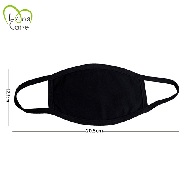 1PCS Unisex Black Cotton Mask Simple Masque Cycling  Breathable Washable Mouth Face Mask Warm Masks Daily 1