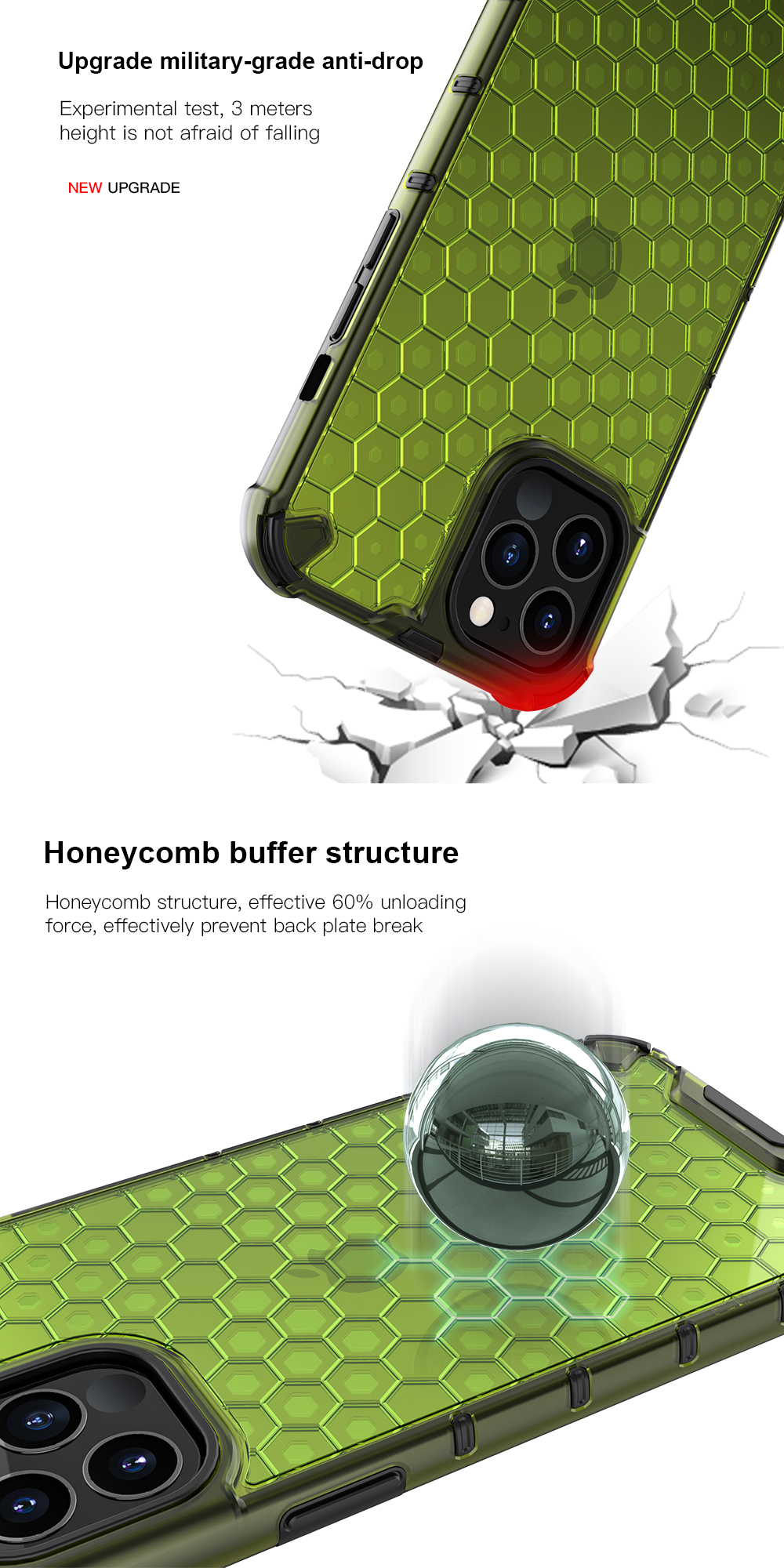 Transparent Shockproof Half Clear Honeycomb Phone Case for iPhone 12