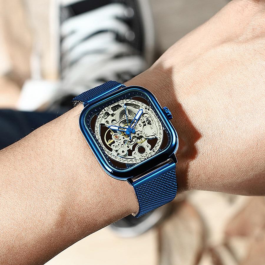 FORSINING Top Brand Luxury Unisex Watch Men Auto Mechanical Hollow Dial Magnet Strap Fashion Royal Wristwatch HIP HOP Male Clock