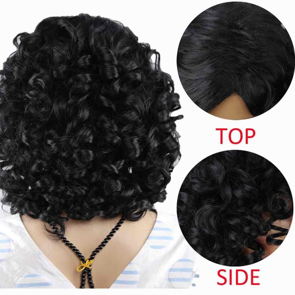 Amir Hair-perruque synthétique courte bouclée crépue aux couleurs moyennes, noir et blond pour femmes, résistants à la chaleur