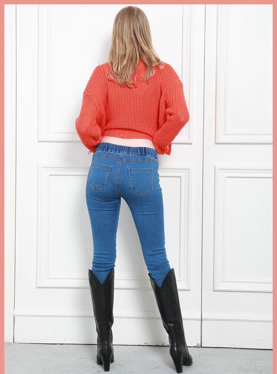 Autumn Winter minimalist Women Denim Skinny Stretch Fake Front Pocket Medium Waist Washed Blue Slim Elastic Lady Jeans 14