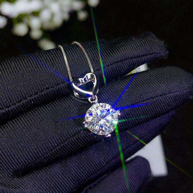 BOEYCJR 925 シルバー 0.5ct/1ct/2ct/3ct F 色モアッサナイト VVS 婚約結婚式のペンダントネックレス記念日のギフト