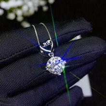 Ожерелье BOEYCJR из серебра 925 пробы с цветным муассанитом карат/1 карат/2 карата/3 карата, женское ожерелье с подвеской для помолвки и свадьбы, Подарок на годовщину