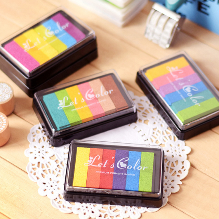 Rainbow-Colored Inkpad 6 Color Printing Children Fingerprint Painting Ink Pad