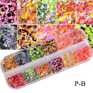 Image 5 - Juego de 12 rejillas de lentejuelas para uñas, copos redondos de colores, colores mezclados, brillo de Paillette 3D, herramienta de decoración para manicura TRP