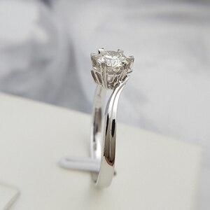 Image 3 - Klasyczne 925 sterling silver 1ct 2ct 3ct okrągły Brilliant Cut pierścień Moissanite diament biżuteria pierścionek zaręczynowy pierścionek jubileuszowy