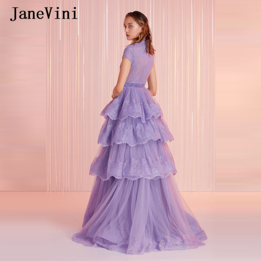 JaneVini 2020 Elegant Light Purple Long Prom Dresses High Neck Beaded A Line Tiered Tulle Lace Appliques Ladies Formal Prom Gown