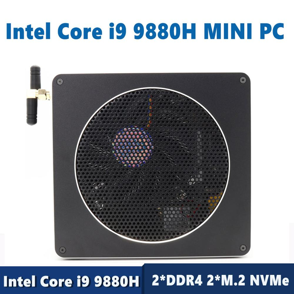 Unique Mini PC Intel Core I9 9880H 8 Cores 16 Threads Gaming Computer 2*DDR4 2*M.2 NVMe Windows 10 Pro HDMI Mini DP AC Wi-Fi&BT