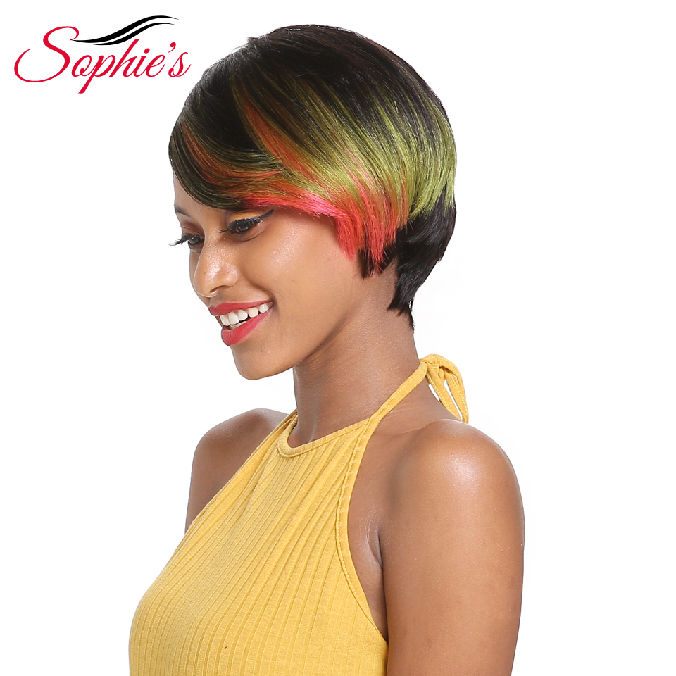 Sophie's Brazilian Bob Wig Short Human Hair Wigs For Black Women Remy Straight Hair Wig 1b Purple Pink Blue Ombre Human Hair Wig