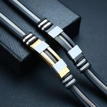 VNOX – Bracelet en acier inoxydable pour hommes, accessoire de poignet noir rainuré, en maille et silicone, style à la fois punk, élégant et décontracté