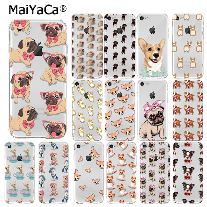 Yinuoda Soft TPU Phone Case For iphone 6 Case Cute Cartoon Dog Protect Back Cover For iphone 5 5S SE 6 6S 7 8 Plus Puppy Pug