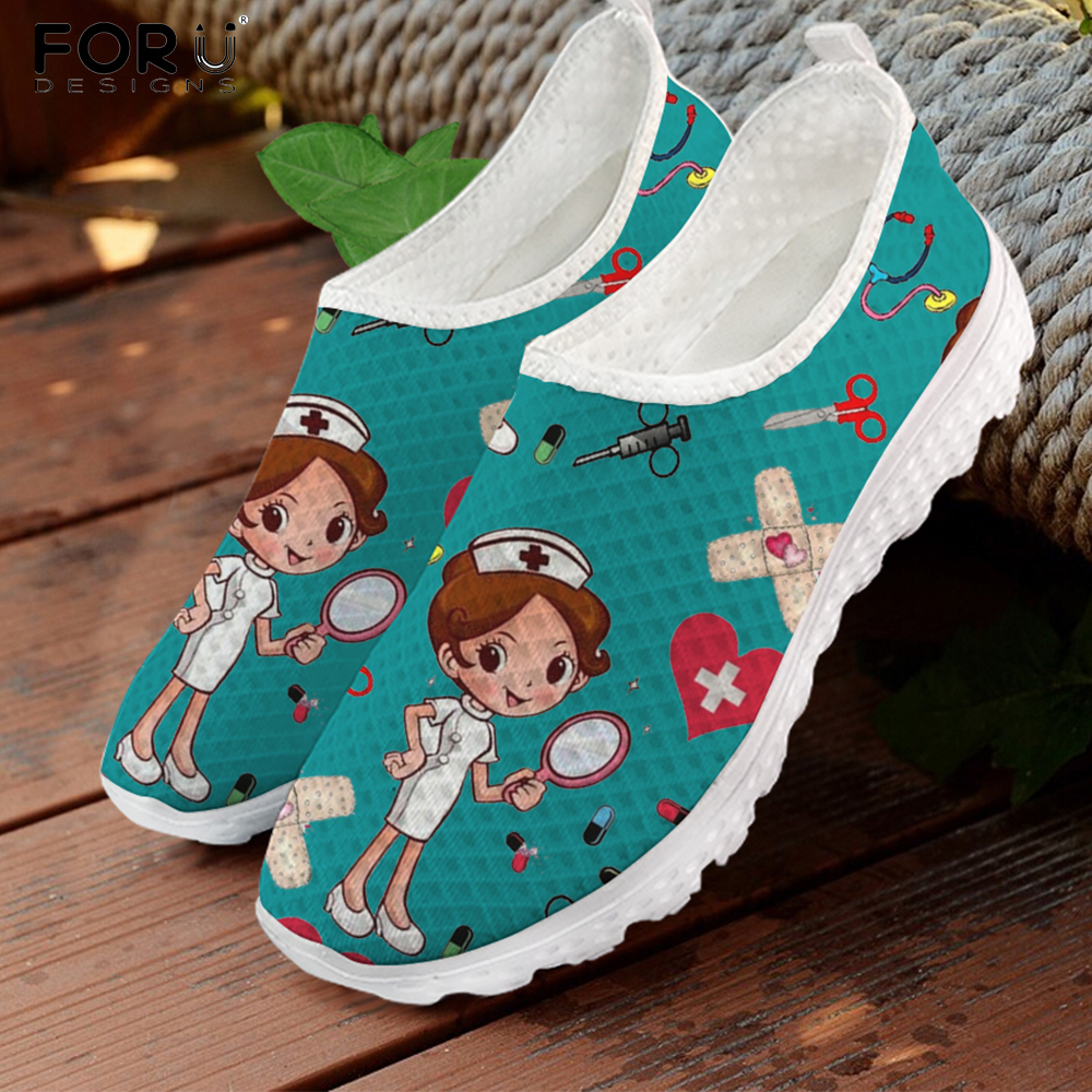 FORUDESIGNS Nursing Shoes for Women Cute Cartoon Nurse Doctor Printed Slip On Flats Sneakers Spring/Autumn Casual Ladies Loafers