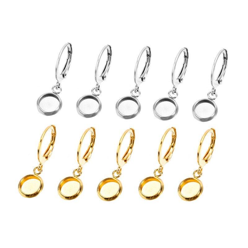 10 шт., принадлежности для сережек из нержавеющей стали, золотистая серьга с пустым основанием, 6 мм, 8 мм, 10 мм, 12 мм