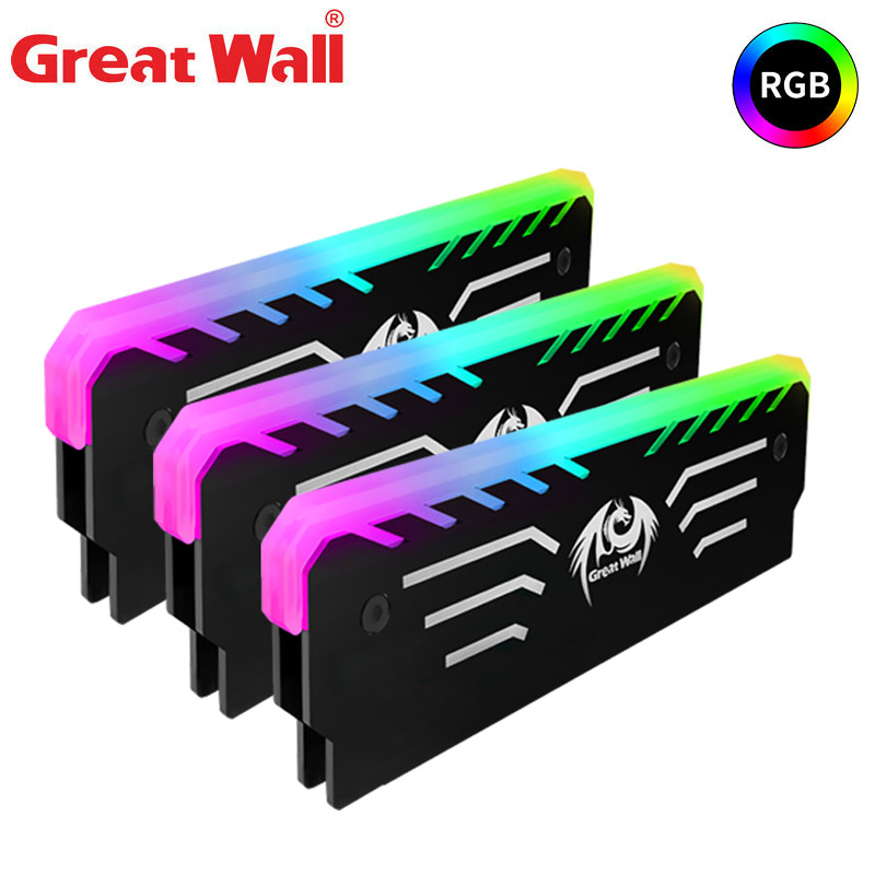 Great Wall 3PIN Memory Cooling Vest 256 RGB Automatic Light Radiator CPU Cooler Aluminum Heatsink for Computer RAM DDR3 DDR4|Fans & Cooling| - AliExpress