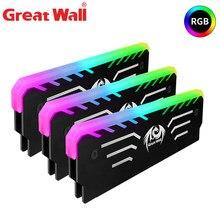 Great wall 3pin ram rgb cooler memória cooling colete 256 cor dissipador de calor radiador dissipador de calor de alumínio para ram ddr3 ddr4