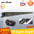 UNI-SHINE двухрядный светодиодный светильник для внедорожников 36 Вт 72 Вт 120 Вт 180 Вт 240 Вт 300 Вт для грузовиков УАЗ 4x4 точечный прожектор 12 В 24 В све...