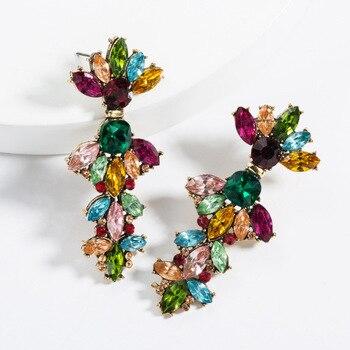 KMVEXO Colorful Crystal Drop Earrings Women Round Geometric Pendant Dangle Earrings Indian Bridal Statement Jewelry Party Bijoux 14