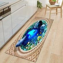 3D Underwater World Kitchen Mat Entrance Doormat Bedroom Floor Decoration Living Room Carpet Bathroom Non-Slip Rug Long Strip