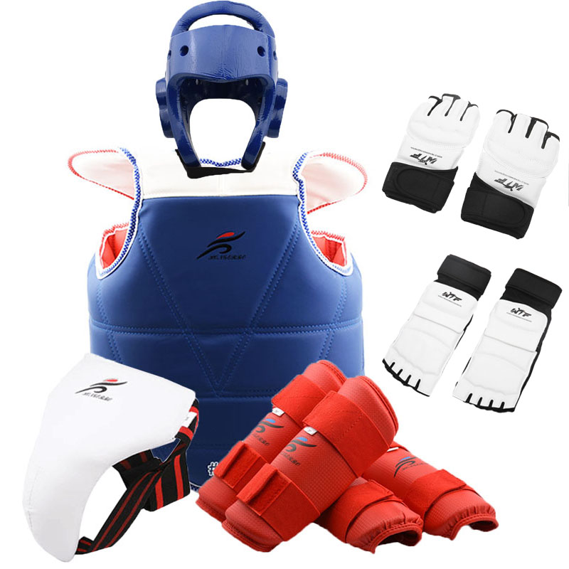 Black Sparring Gear Set Headgear Gloves Shin Foot Guards Karate Tkd Pads