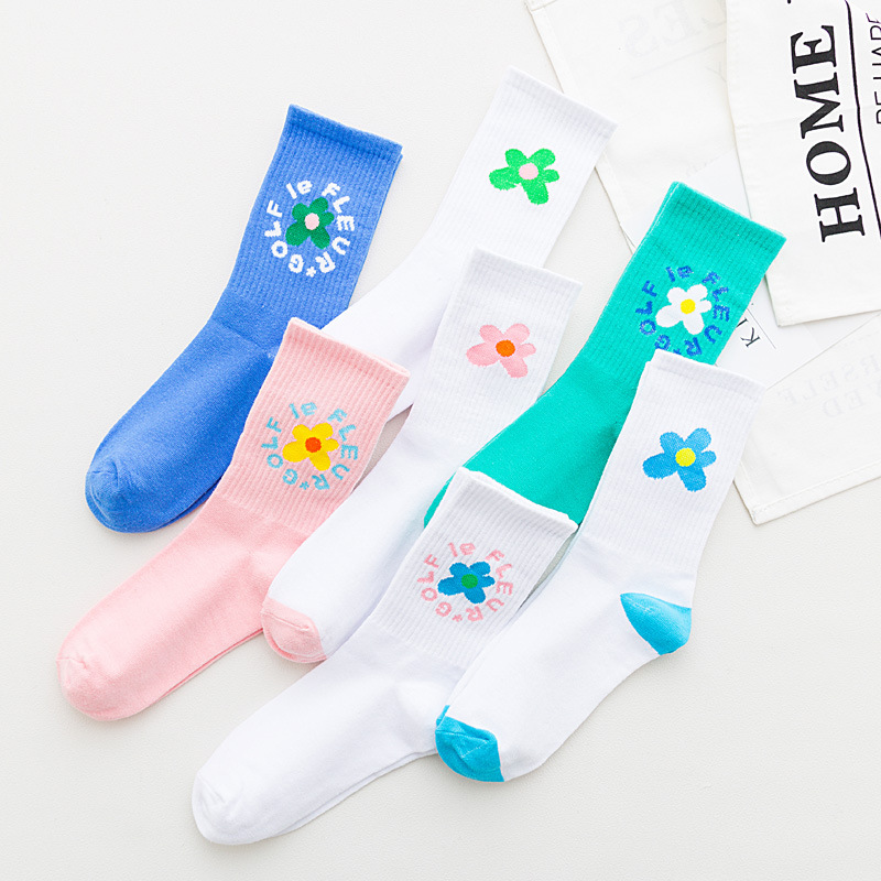 Ins Flowers Hyun Korean Version Pink Socks Women College Art Wind  Kawaii Socks Spring And Autumn For Female 7 Colors 178