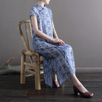 Vestido Qipao suelto de algodón y lino para mujer, vestido Cheongsam Vintage para mujer, vestido de lino de algodón de verano 2020