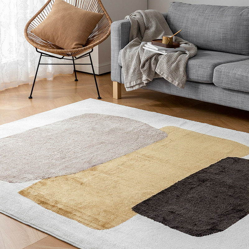 Concise Modern Carpet Rug For Living Room Nordic Geometric Wood Floor Rug Non-slip Soft Fluffy Carpet For Bedroom Parlor Home image