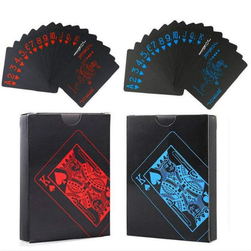55pcs/Deck Red/Blue Black Waterproof Durable PVC Scrub Type Plastic Playing Cards Retro Back Stripe Magic Trick Props