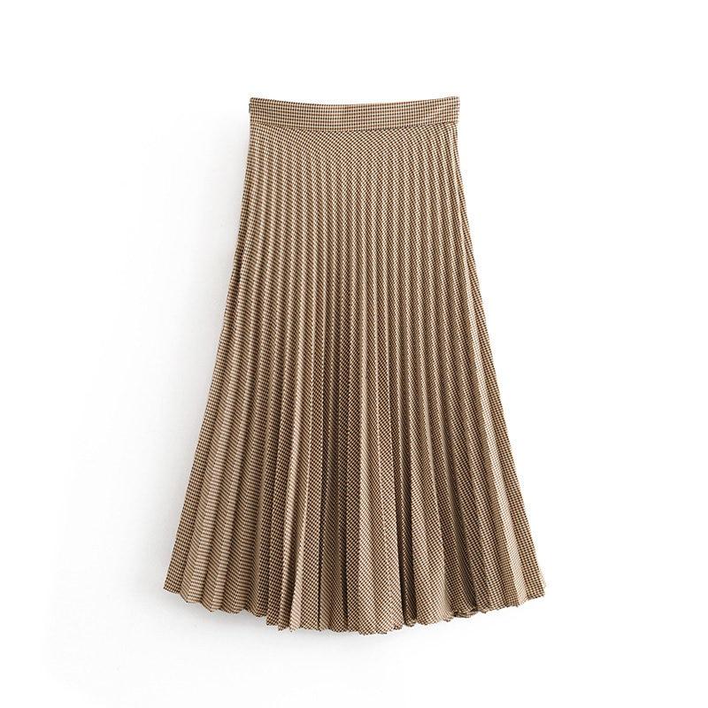 2019 Women Vintage Checker Grid Pleated Midi Skirt Fashion Ladies Side Zipper Vestidos Casual Slim Plaid Chic Skirt QUN471