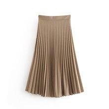 2019 Women vintage Checker grid pleated midi Skirt Fashion Ladies side zipper ve