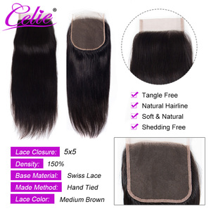 Image 4 - Celie Hair Brazilian Straight 5x5 Lace Closure Free/Middle Part 150% Density Natural Black Color Remy Human Hair Closure