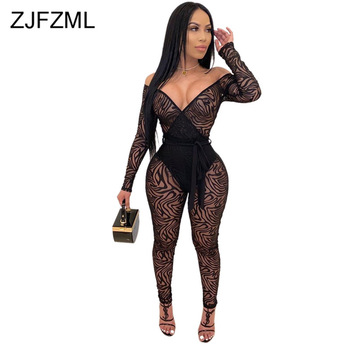 Printed Sexy Perspective Overalls for Women Slash Neck Backless Bodycon Black Jumpsuits Long Sleeve Tie Bow Skinny Bodysuits
