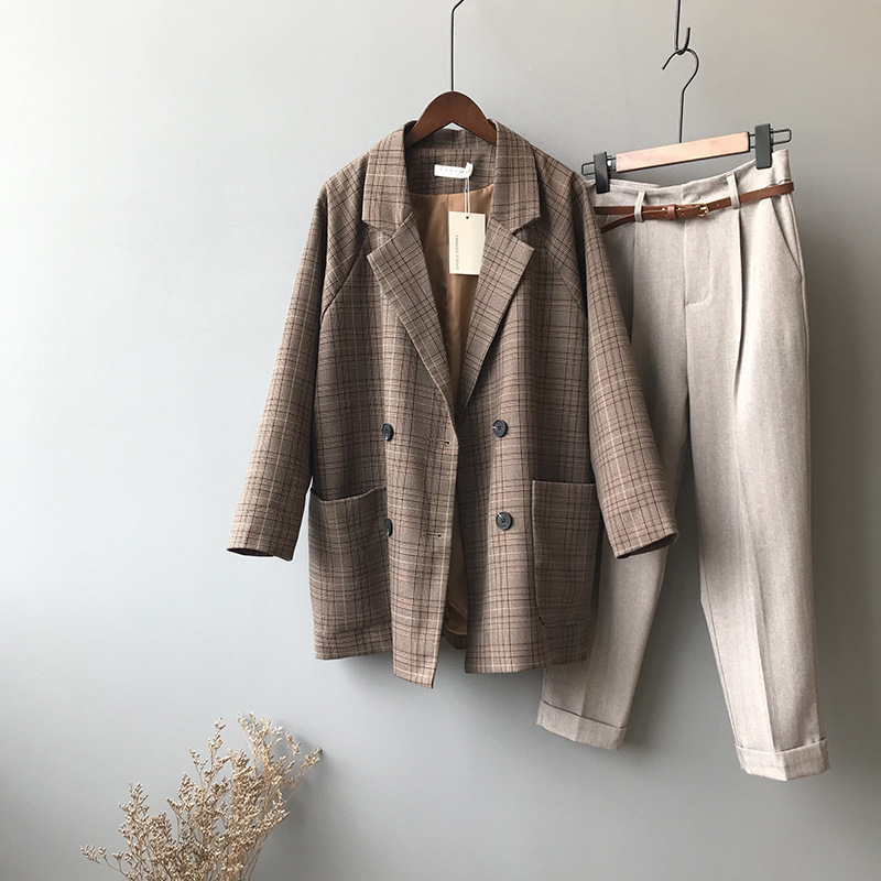 Mooirue Summer Femme Brown Balzer Jacket Plaid Elegant Coat Padded Slim Cotton  Casual Cardigan Feminine Coat