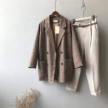 Mooirue Summer Femme Brown Balzer Jacket Plaid Elegant Coat Padded Slim Cotton  Casual Cardigan Feminine Coat цена