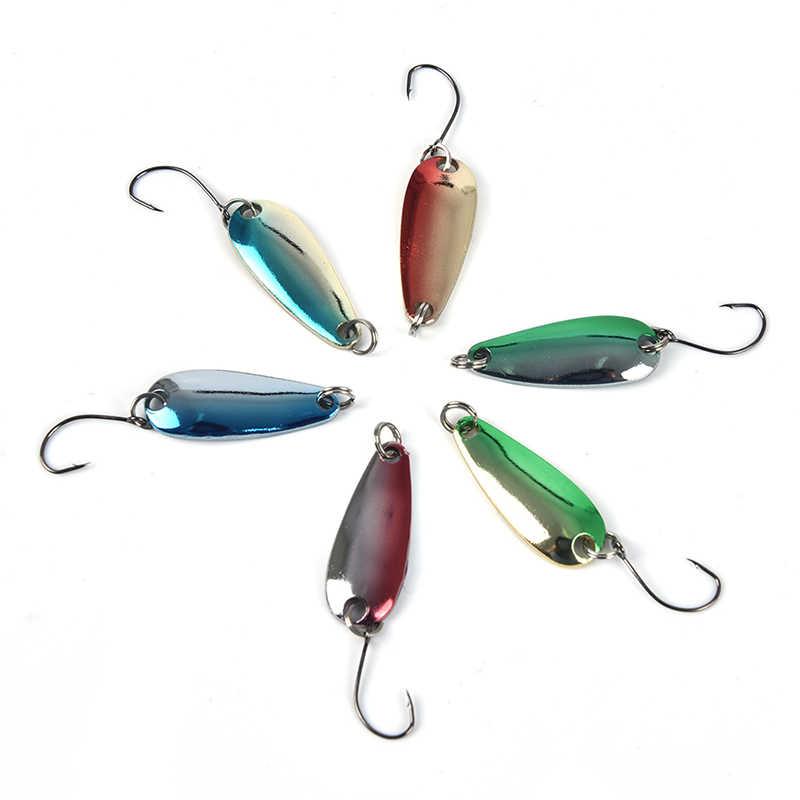 1 adet metalik pullu kaşık şekli 6 renkler balıkçılık pullu yem tek kanca Spinner yemler sert yemler bas Pike olta takımı