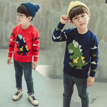 Toddler Boys Dinosaur Sweater Children Knitwear Cotton Pullover Kids Fashion Outerwear Clothes 2-7T