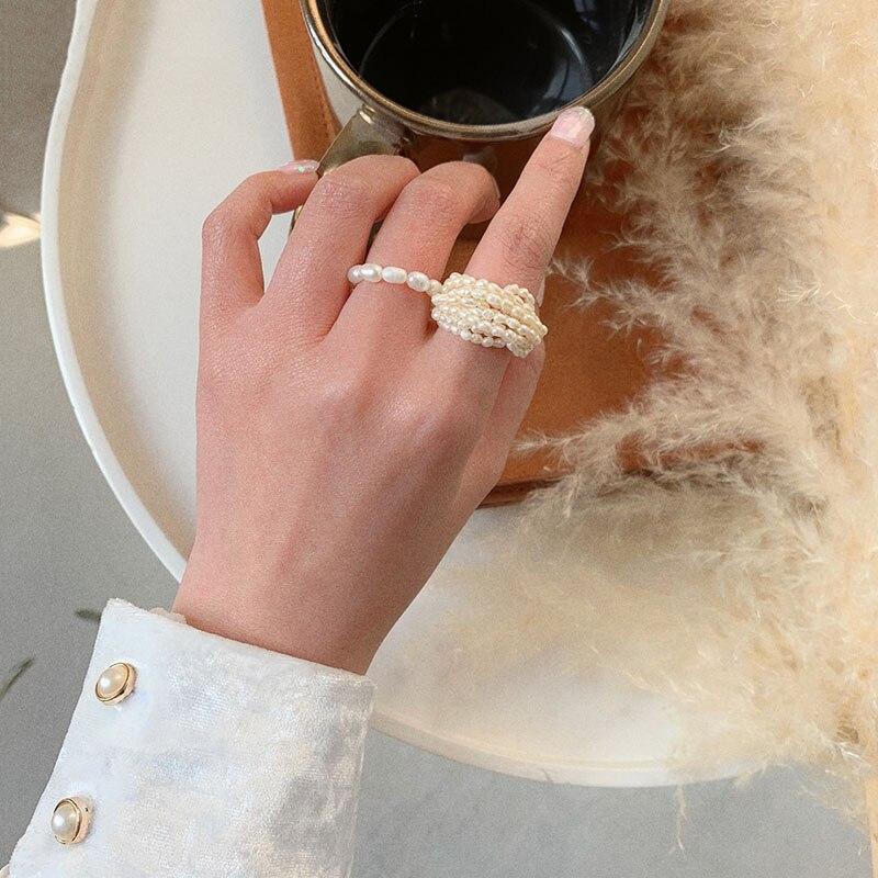 AOMU French Rare Retro Small Weave Interlocking Freshwater Pearl Multi layered Finger Ring for Women Accessories Girls Wedding