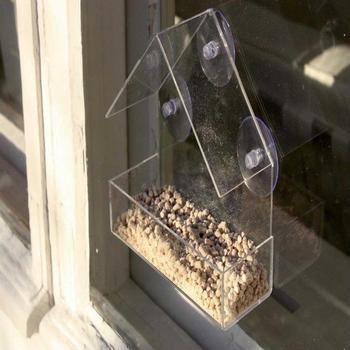 Transparent acrylic bird feeder parrot fountain outdoor bird feeder on glass Sucker feed bird pet feeder 30N29 1