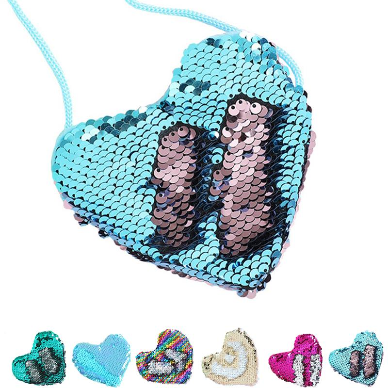 New Fashion Heart-Shaped Sequin Coin Purse Bling Cross Body Coin Wallet Mini Coin Pouch For Children Birthday Gifts For Kids