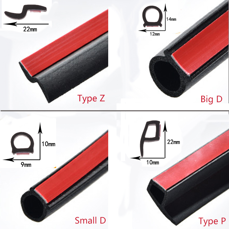 4 Meters Shape B P Z Big D Car Door Seal Strip EPDM Rubber Noise Insulation Weatherstrip Soundproof Car Seal Strong Adhensive