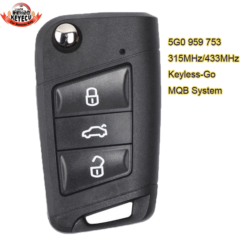 KEYECU MQB System Keyless-Go 315MHz OR 434Mhz ID48 Smart <font><b>Remote</b></font> <font><b>Key</b></font> 3 Button for Volkswagen <font><b>Golf</b></font> <font><b>7</b></font>,Tiguan 2014-2018 5G0 959 753 image