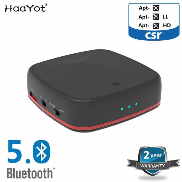 Haayot bluetooth 5.0 csr8675 transmissor receptor de áudio sem fio aptx hd com digital óptico toslink/spdif/aux adaptador